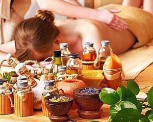 Woman getting massage in luxury spa.